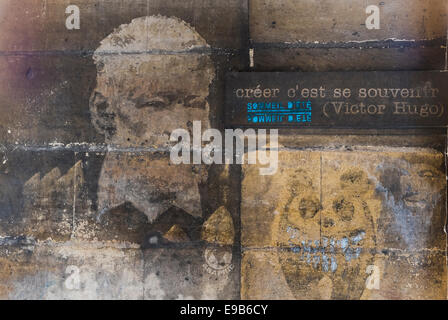 stencil graffito portrait of french writer victor hugo and a quote: ceer c´est se souvenir, to create is to remember - Stock Photo