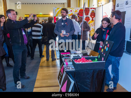 Paris, France. Trade Show, 15th Convention of SFLS, French Society in FIght against AIDS, N.G.O's, and Drug Companies. - Stock Photo