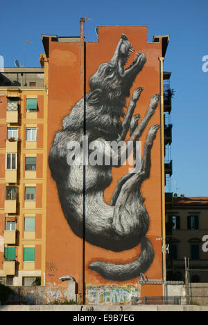 Rome. Italy. 'Jumping Wolf' by Belgian graffiti artist Roa on the side of a building in Testaccio. - Stock Photo