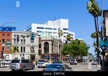 View down Wilshire Boulevard at the intersection with Rodeo Drive, Beverly Hills, Los Angeles, California, USA - Stock Photo