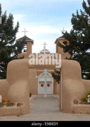 The entrance to the San Francisco de Asis Church in Taos, New Mexico - Stock Photo