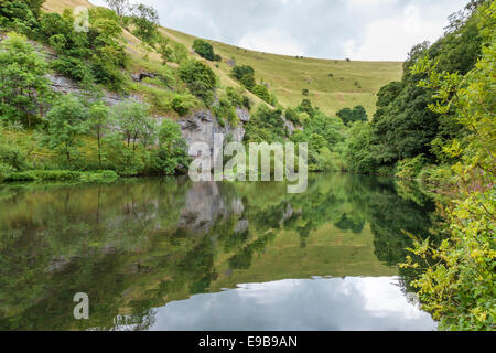 The River Wye at Cressbrook Dale in the Derbyshire Dales, Peak District, England, UK - Stock Photo
