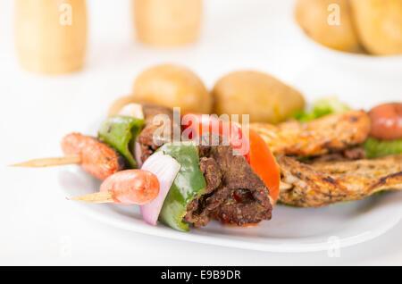 skewers shish kebab sticks grilled meat chicken - Stock Photo