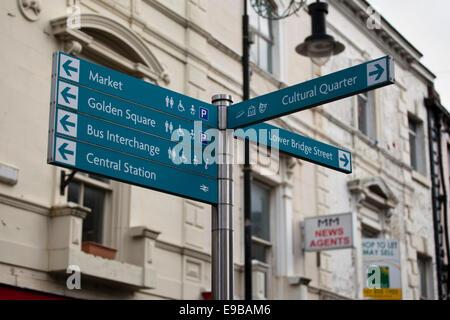 Multi-Directional Indicator Fingerpost Signs, Warrington, Cheshire, UK - Stock Photo