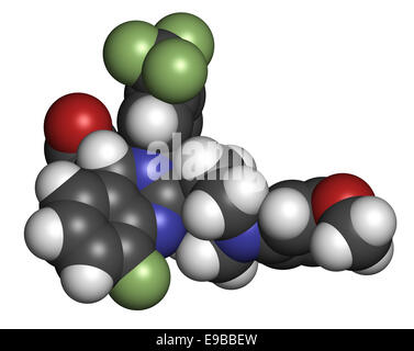 letermovir cytomegalovirus (CMV) drug molecule. Atoms are represented as spheres with conventional color coding: - Stock Photo