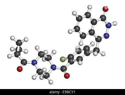 Olaparib cancer drug molecule. Inhibitor of PARP (poly ADP-ribose polymerase). Atoms are represented as spheres - Stock Photo