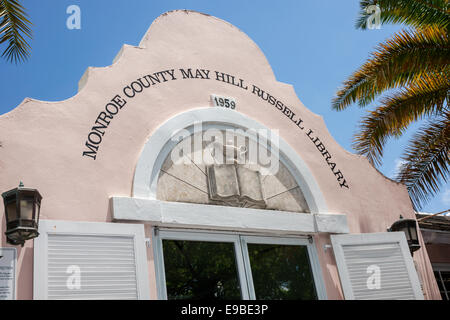 Florida Key West Fleming Street Monroe County May Hill Russell Library front entrance - Stock Photo