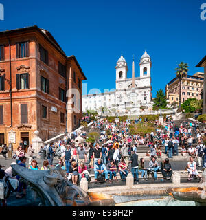 Rome, Italy - May 15, 2012: Tourists visiting the Spanish Steps.  Spanish Steps  are a set of steps in Rome. It - Stock Photo