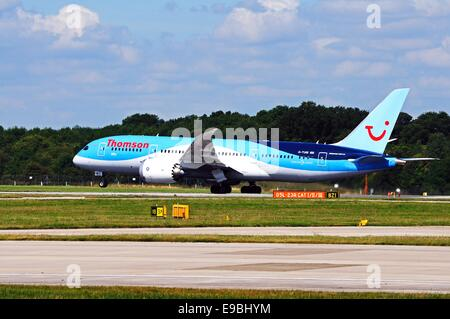 Thomson Airways Boeing 787-8 Dreamliner taxiing at Manchester airport, Manchester, Greater Manchester, England, - Stock Photo