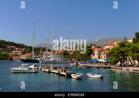 Cavtat town near Dubrovnik, south Croatia. A 'Port of Entry' for private yachts entering or leaving Croatia. - Stock Photo