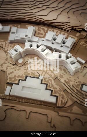 Weilerbach, Germany. 24th Oct, 2014. A miniature model of the new 'ROB (Rhine Ordnance Barracks) Medical Center' - Stock Photo