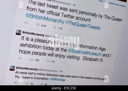 London, UK. 24th Oct, 2014. Queen sends her first Twitter message from the Science Museum in London, Britain, UK - Stock Photo