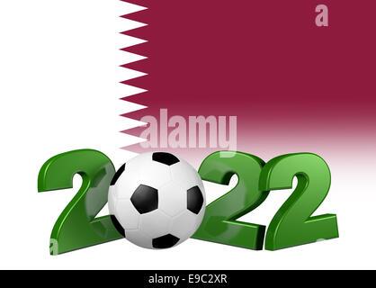 Green Football 2022 design with Qatar Flag - Stock Photo