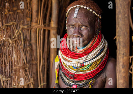 Nyangatom Woman in Omo Valley, Ethiopia 15 May 2014. The Nyangatom also known as Bume are nomadic, residing in mobile - Stock Photo