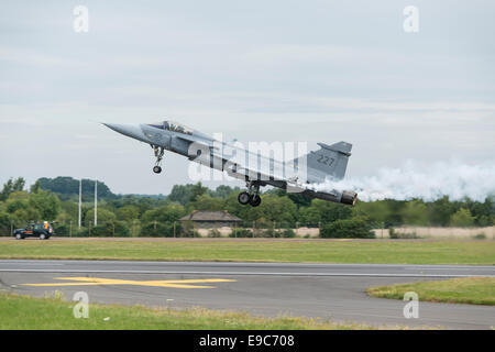 Swedish Air Force Saab Gripen JAS39C Military Multirole Fighter Aircraft takes off from RAF Fairford in the English - Stock Photo