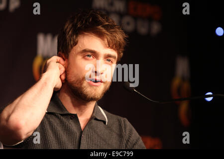 London, UK. 24th Oct, 2014. Daniel Radcliffe attends the MCM London Comic Con convention promoting his new movie - Stock Photo