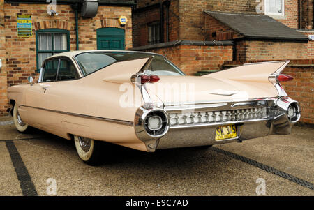 Rear view of 1950's Cadillac, Nottingham, England. - Stock Photo