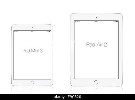 Tablets iPad mini 3 and iPad air 2 silver, digitally generated artwork. - Stock Photo