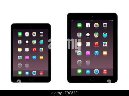 Tablets iPad mini 3 iPad air 2 (space gray)  with apps, digitally generated artwork. - Stock Photo