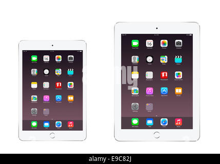 Tablets iPad mini 3 iPad air 2 silver with apps, digitally generated artwork. - Stock Photo