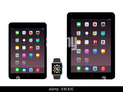 Tablets iPad mini 3, iPad air 2 space gray, apple watch sport with icons home screen, white background. - Stock Photo
