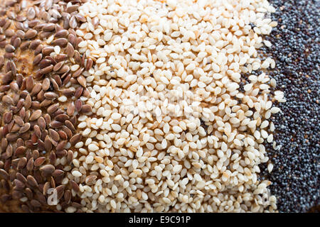 Close up of the different seeds of a multigrain bread - Stock Photo