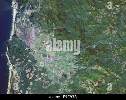 aerial photo map of Tilamook, Oregon - Stock Photo