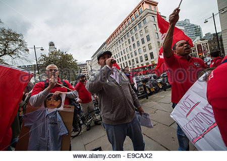 London, UK. 24th Oct, 2014.  Protest: Justice for the Bloomberg Cleaners 2014 Credit:  Guy Corbishley/Alamy Live - Stock Photo