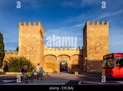 Medieval Town Walls, Alcudia, Mallorca - Spain - Stock Photo