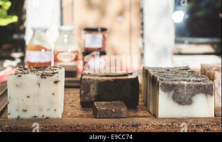 Handmade soap with herbs. - Stock Photo