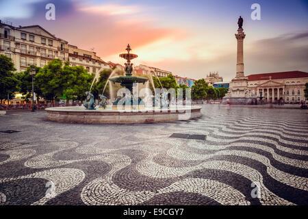 Lisbon, Portugal at Rossio Square.