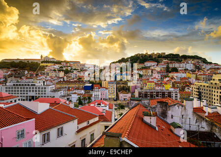 Lisbon, Porgual Dawn Skyline towards Sao Jorge Castle. - Stock Photo