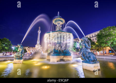 Lisbon, Portugal at the Rossio Square fountain. - Stock Photo