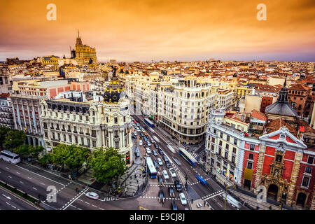 Madrid, Spain cityscape above Gran Via shopping street. - Stock Photo
