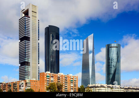 Madrid, Spain Financial District skyline. - Stock Photo