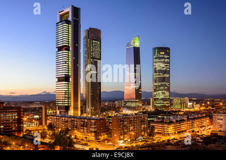 Madrid, Spain financial district skyline at twilight. - Stock Photo