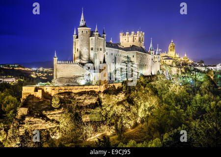 Segovia, Spain town skyline with the Alcazar at night. - Stock Photo