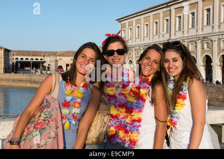 Teenies, Teen, Girls, Young Woman, Selphy, Photo, photography, Selfi, Bridge, River, Fiume Misa, Group, Summer Jamboree - Stock Photo