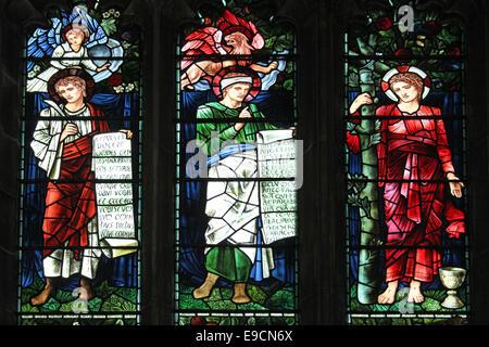 William Morris Stained Glass Window, Unitarian Church, Liverpool, UK - Stock Photo
