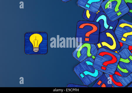 Yellow light bulb and a lot of question marks on blue background. Pictures drawn by me. - Stock Photo