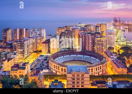 Malaga, Spain cityscape on the Mediterranean Sea. - Stock Photo