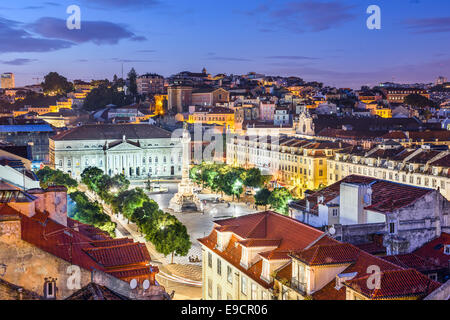 Lisbon, Portugal skyline view over Rossio Square. - Stock Photo