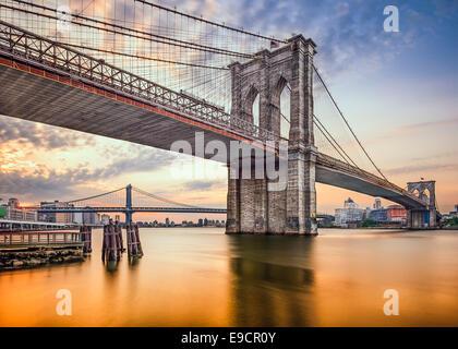 Brooklyn Bridge in New York City, USA at dawn. - Stock Photo