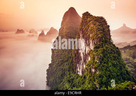 Karst Mountains of Xingping, China. - Stock Photo