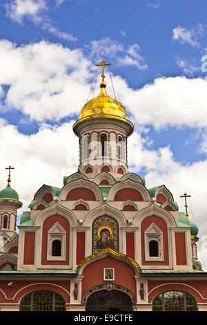 Kazan Cathedral, also known as the 'Cathedral of Our Lady of Kazan', is a Russian Orthodox church in central Moscow. - Stock Photo