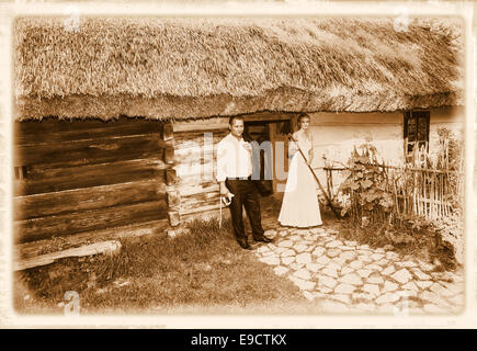 Wedding photo session in rural scenery. - Stock Photo