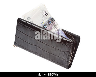 Black wallet with money isolated on white background. - Stock Photo