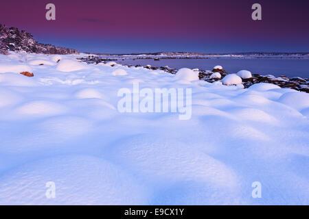 Winter evening at Larkollen in Rygge kommune, Østfold fylke, Norway. - Stock Photo