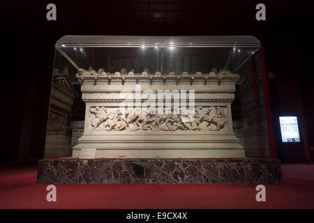 The Alexander the Great sarcophagus, Istanbul archaeological museum, Istanbul, Turkey - Stock Photo