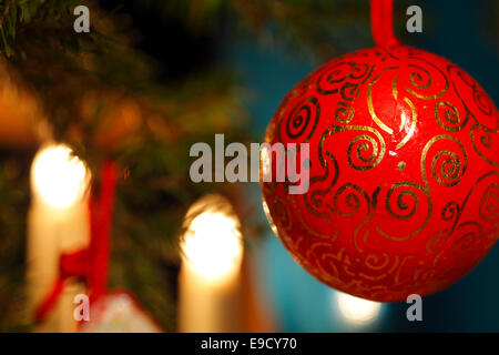 A red bauble is hanging on the Christmas tree. - Stock Photo